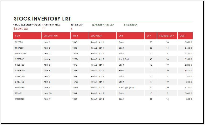 10 stock inventory templates free printable excel word pdf