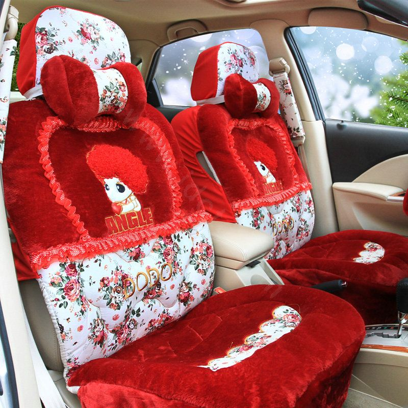 202 91 Angel Flower Universal Automobile Car Seat Cover Velvet Cushion 9pcs Red