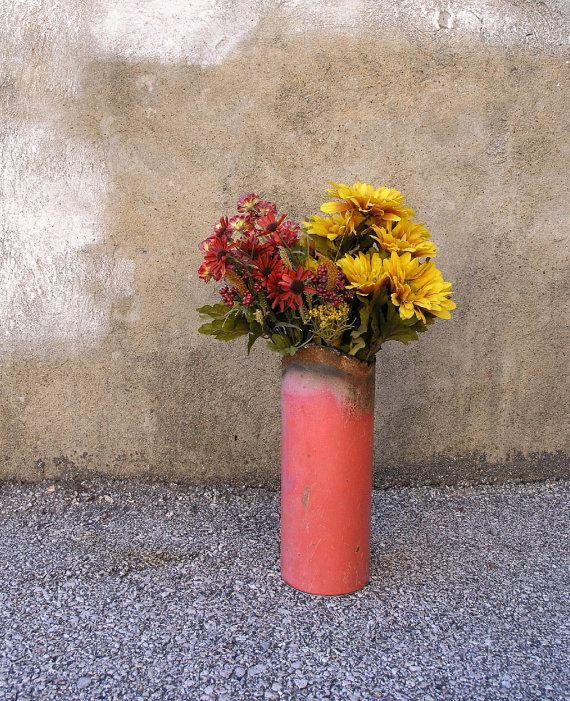 Pink Metal Art Vase Industrial Decor  Wet Dry Flower by PaulaArt, $50.00
