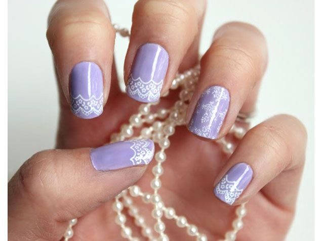 Lavender Lace Wedding Nail Art Design http://www.ivillage.com/ - Wedding Nails: Bridal Manicure Designs Add Polish To Your Big Day