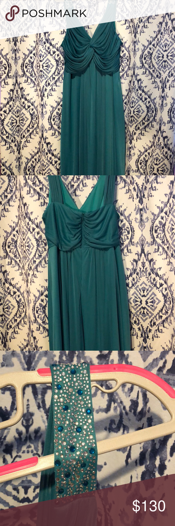 Greenish turquoise long prom dress in my posh picks