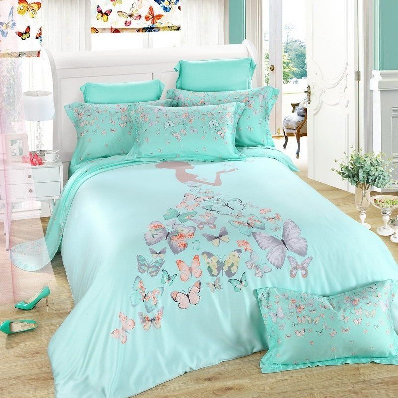 Mint Green Grey And Pink Beautiful Girl, Pink And Mint Twin Bedding