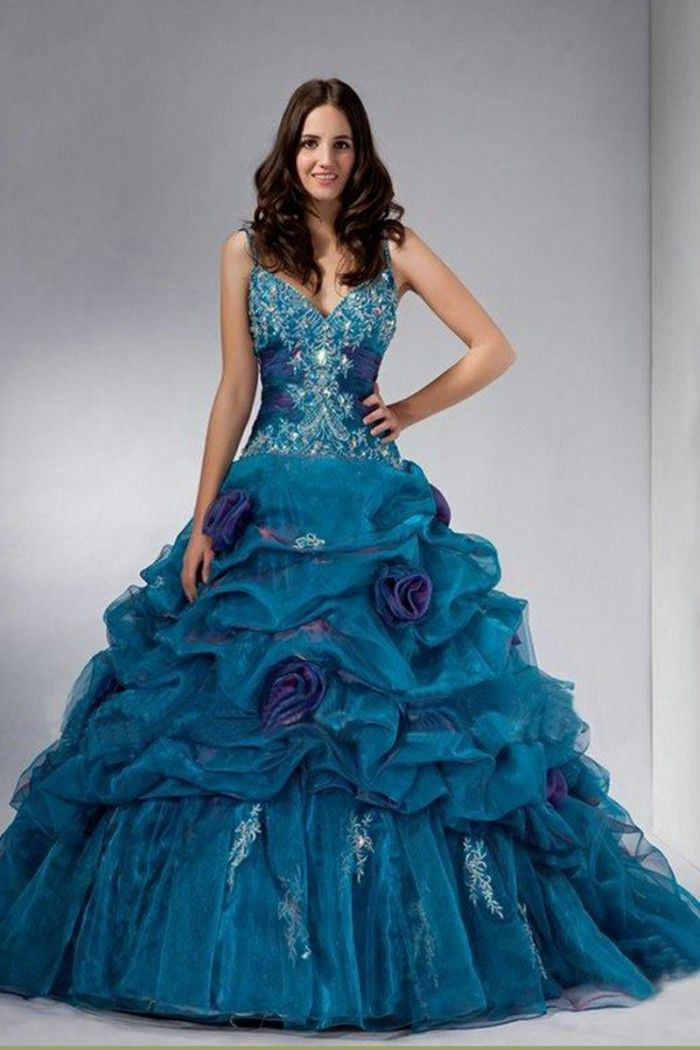 c895321a0a7 Click to Buy    Hot Sale Quinceanera Dresses Spaghetti Organza Ball Gown  Custom