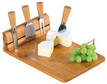 Kesper 50641 Käseschneidebrett mit Besteck, Bambus, Maße: 30 x 20 x 8 cm