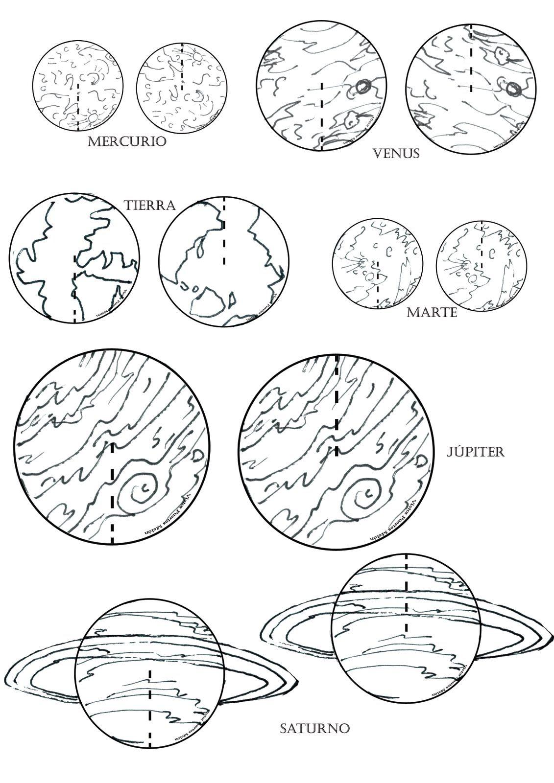 los planetas del sistema solar para colorear nocturnar