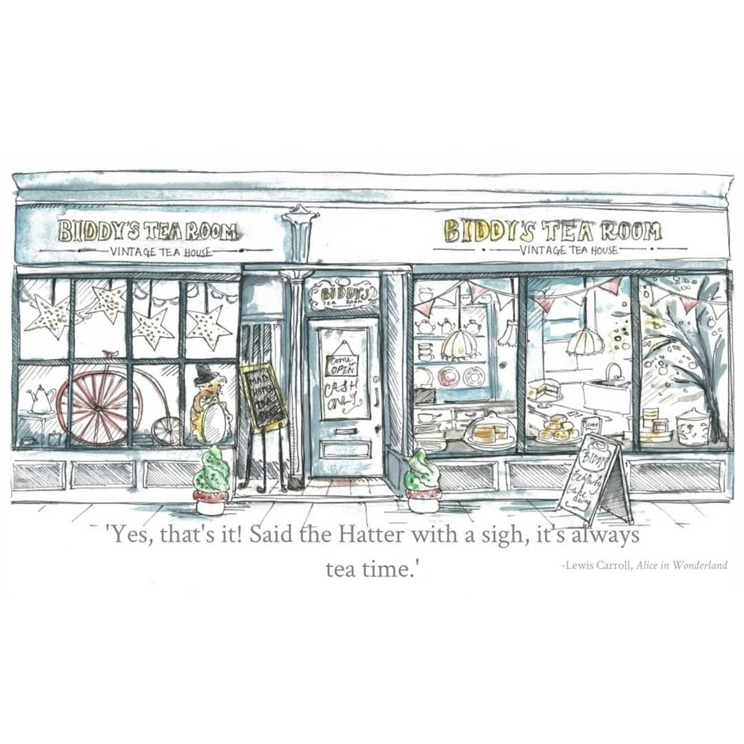 Our Little Shop Down The Norwich Lanes Drawn By Talented Little Biddy Christina Alden Tea Room Vintage Tea Great Christmas Presents