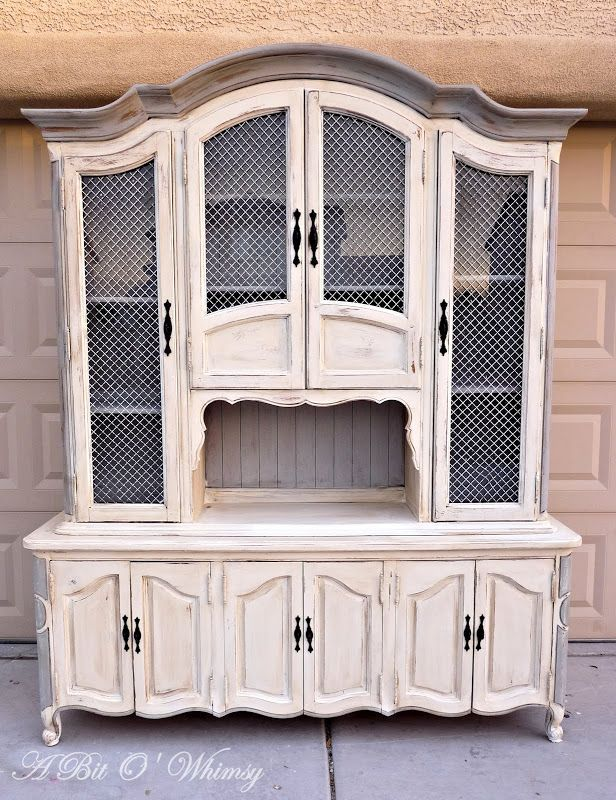 Old White And Paris Grey Hutch At Www.abitowhimsy.com