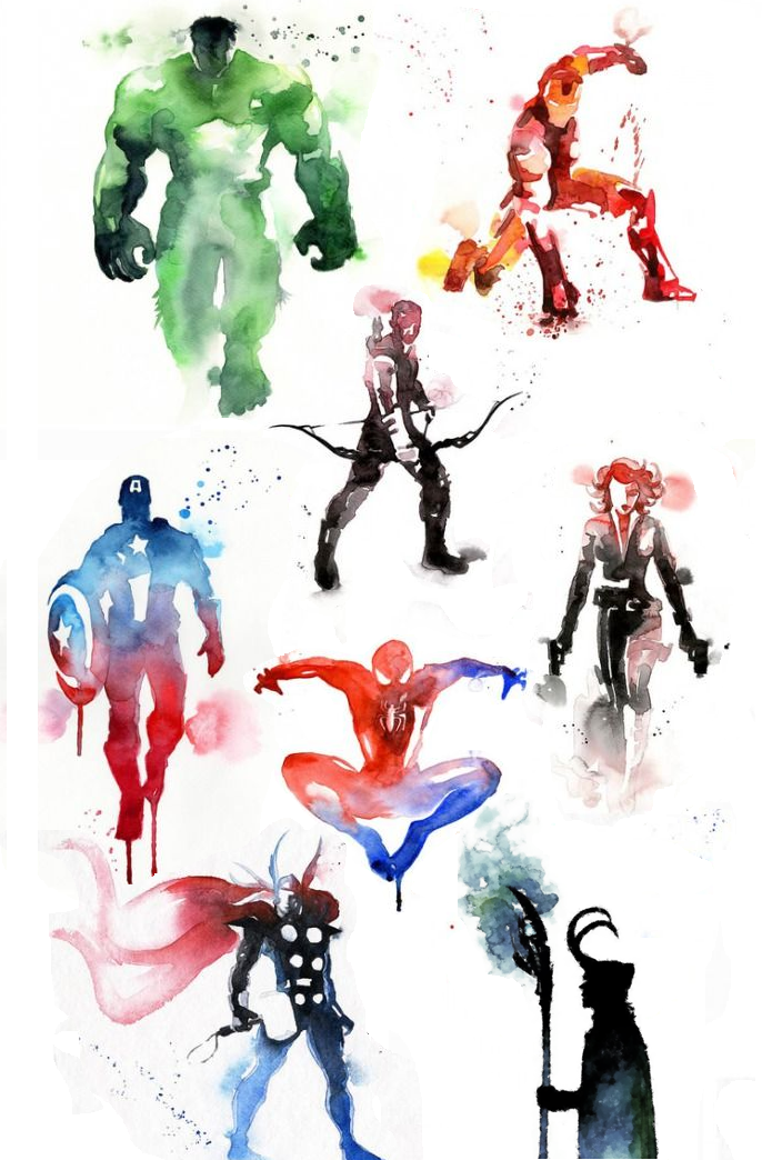 Marvel watercolor captain america spiderman thor for Marvel sleeve tattoo black and white