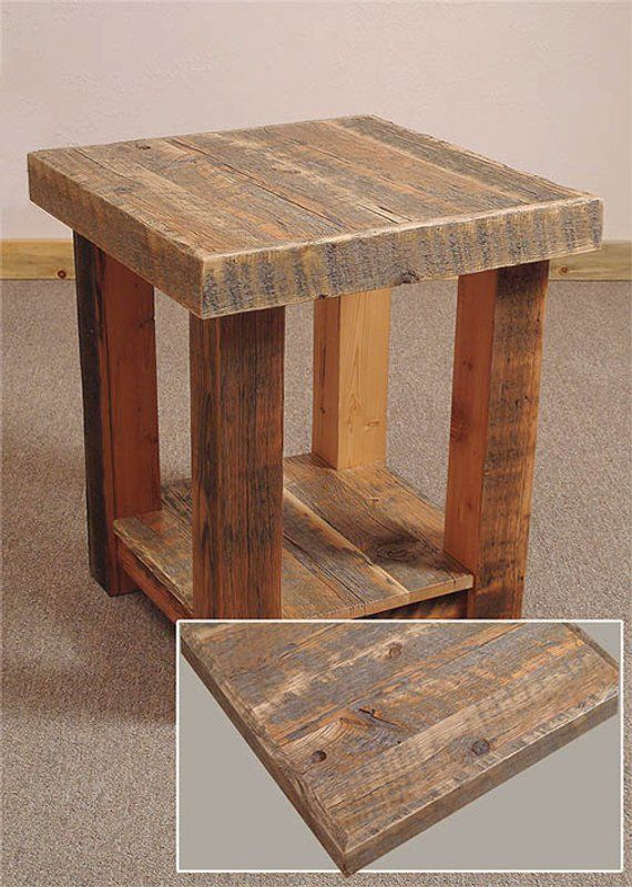 Reclaimed barn wood Rustic Heritage End Table in 2018 Products