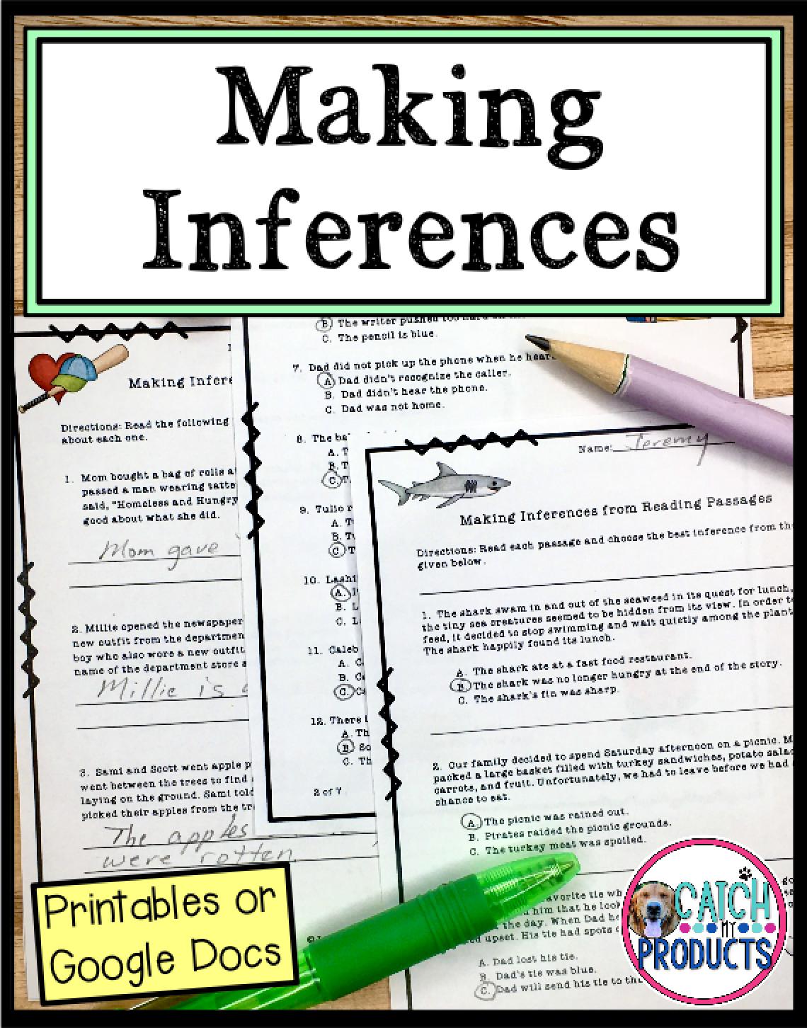 Making Inferences 3rd Grade Worksheets Or Easel Docs Distance Learning Reading Comprehension For Kids Making Inferences Distance Learning [ 1452 x 1140 Pixel ]