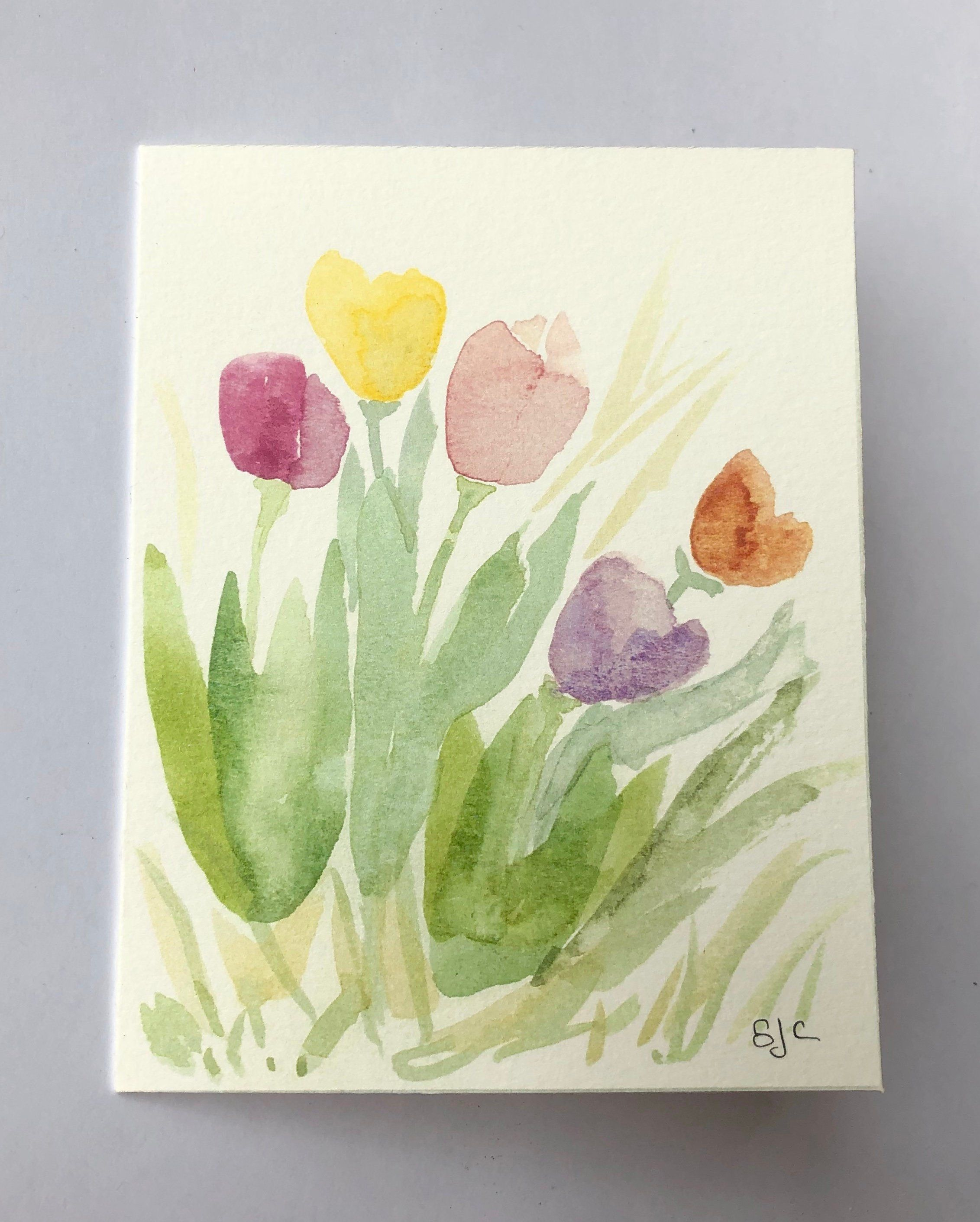 Watercolor Notecard Of Tulips Easter Card Thinking Of You Card