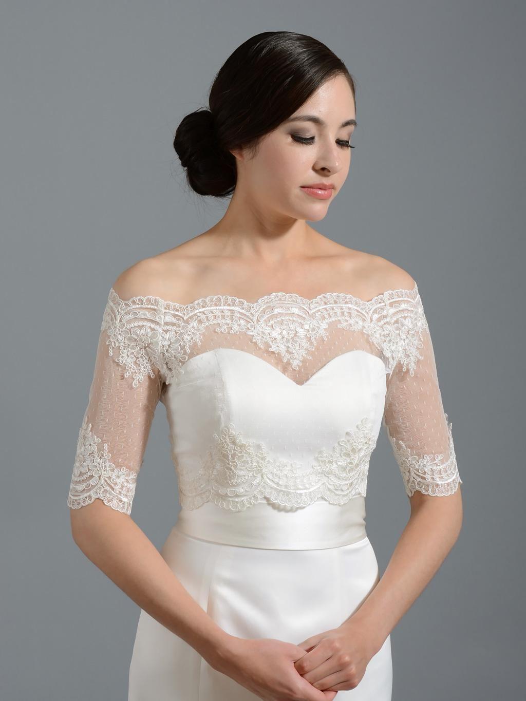 b2c5f82c6bb5 2016 Elegant White Lace Bolero for Brides Half Long Sleeves Off Shoulder  Appliques Short Jacket Wedding Wraps Shawl Cheap Custom Made