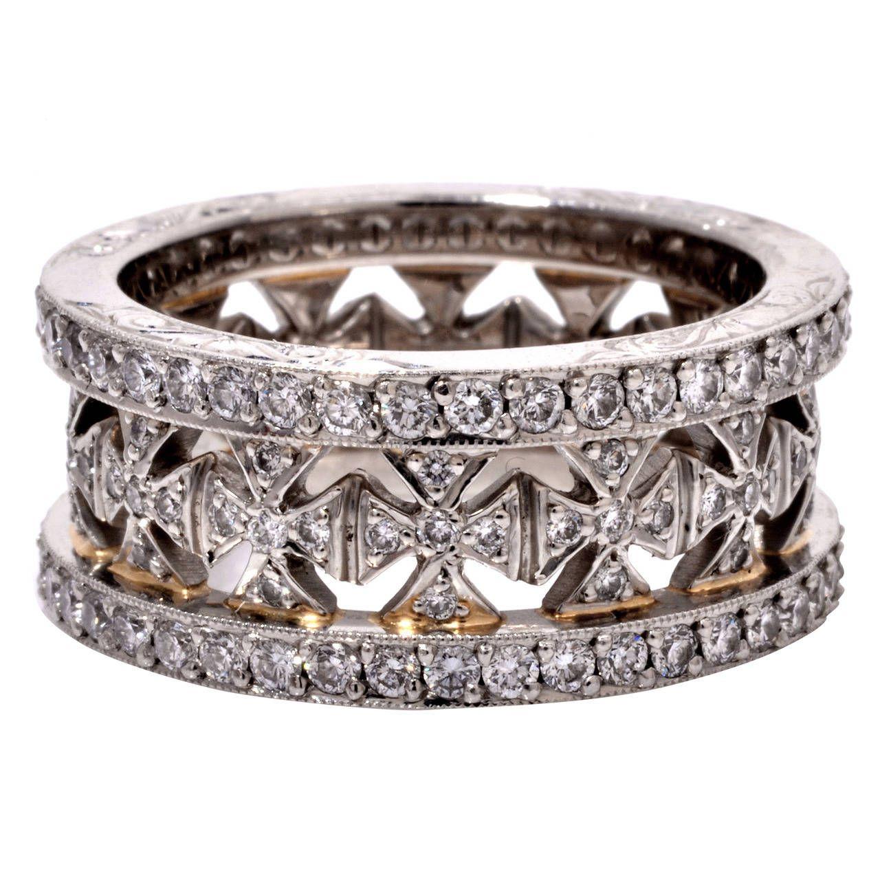 Beaudry diamond platinum wide eternity band ring 1stdibs