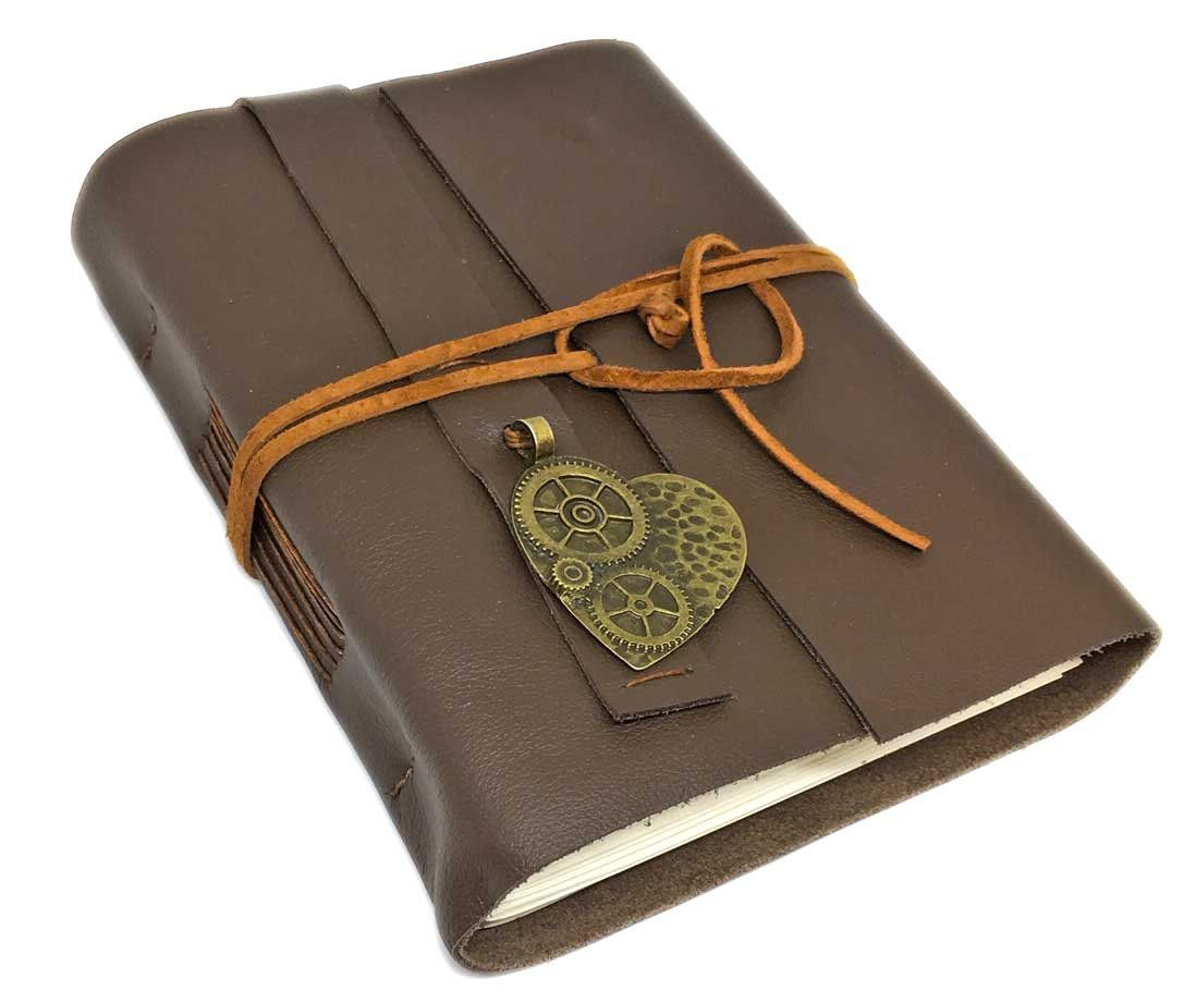 Leather Journal With Blank Paper, Bookmark And Heart
