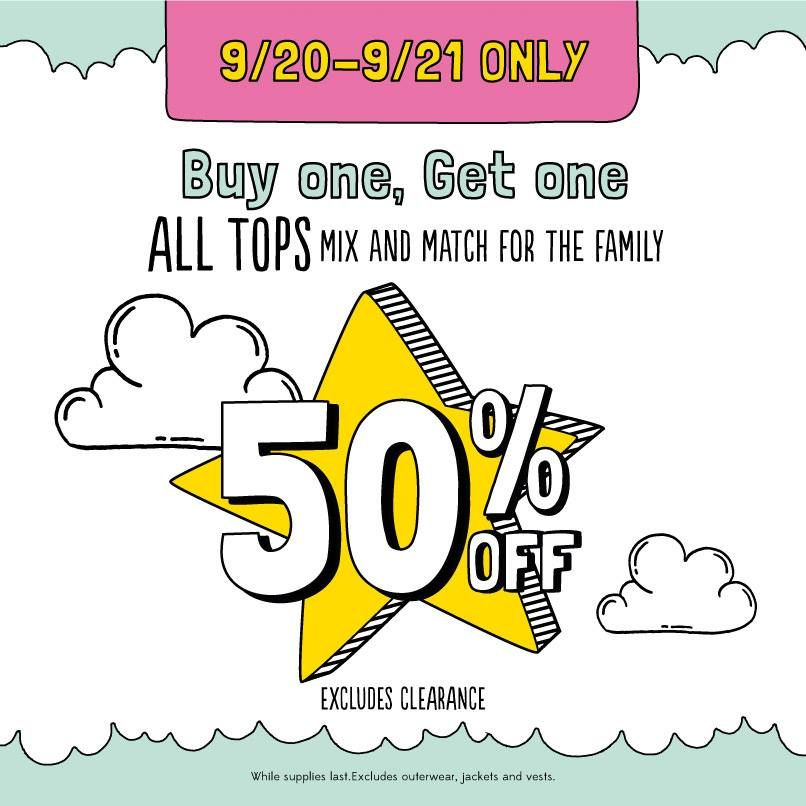 Today is the last day to come into our store and buy one top and get the 2nd at 50% off! Make sure you take advantage of this deal while it lasts.