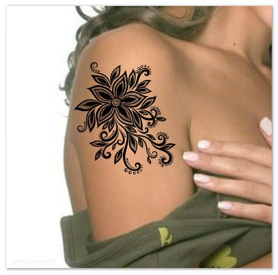Temporary Tattoo Shoulder Flower Ultra Thin by ...