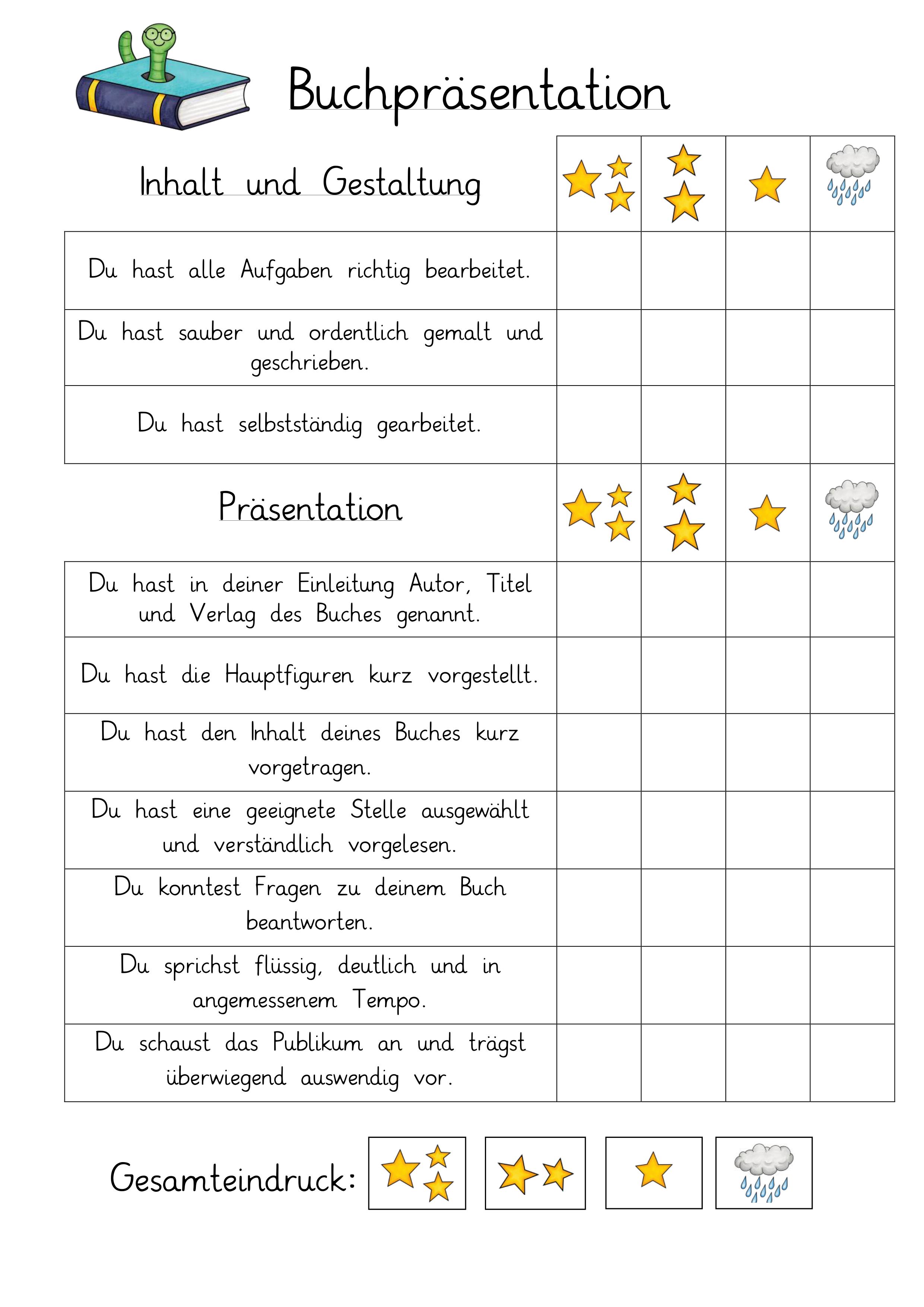 Buchprasentation Bewertungsraster Unterrichtsmaterial Im Fach Deutsch In 2020 Lernen Tipps Schule Buchvorstellung Grundschule Abc Lernen