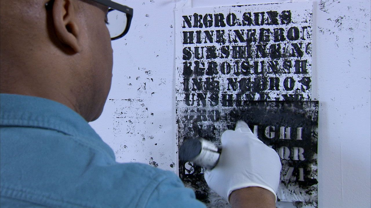 """Production still from """"History"""" (2012)   Art21.  Artist Glenn Ligon.  Why do contemporary artists deal with historic figures, events, and themes?  What impact can their work have on the present and future?  What current math and science issues would you like to see artists address?"""