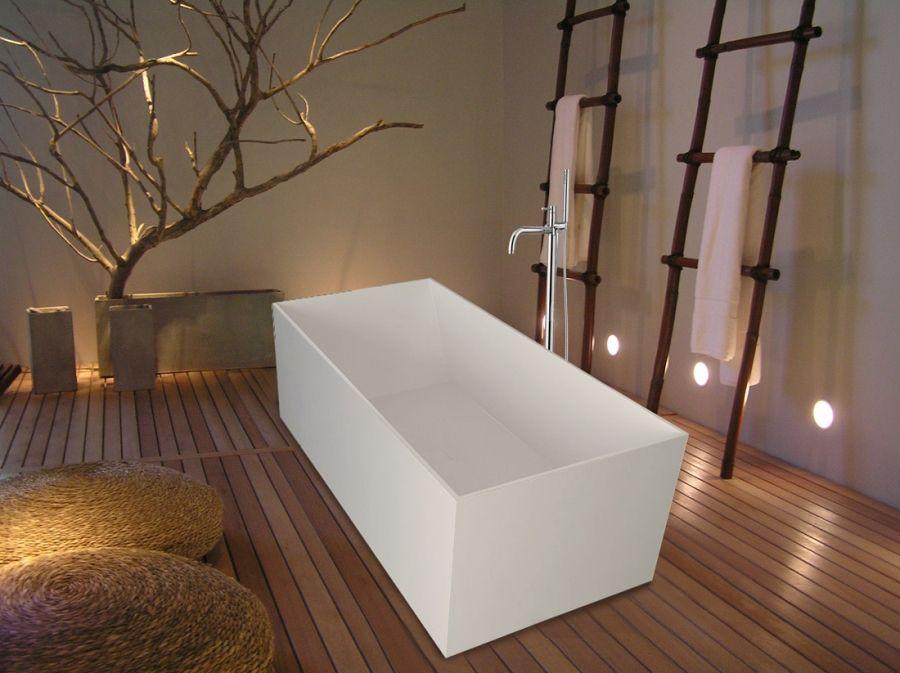 Bathroom, : Modern Freestanding Bathtub Design With Square Shaped ...