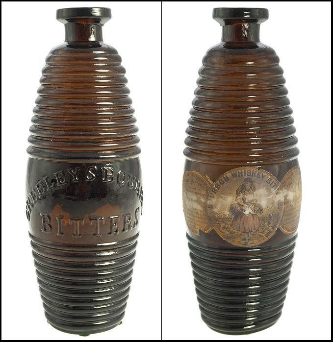 "GREELEY'S - BOURBON BITTERS"", (Ring-Ham, G-101), Massachusetts, ca. 1865 - 1875, medium pinkish topaz barrel,"