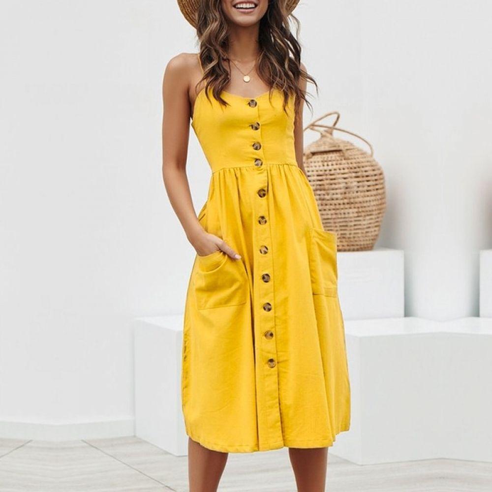 Elegant Button Women Dress Pocket Polka Dots Yellow Cotton Midi Dress Summer Casual Female Plus Size Lady Beach Vestidos Nasary In 2020 Gelbe Sommerkleider Legere Sommerkleider Sommer Kleider