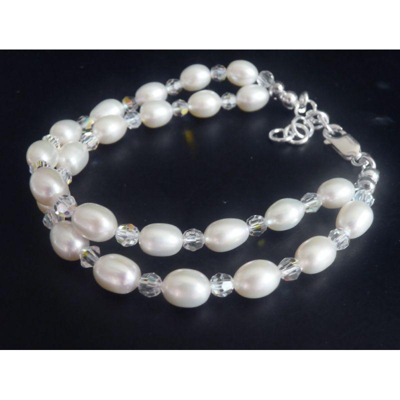 Brautschmuck armband perlen 2 reihiges Perlen Armband als Brautschmuck zur Hochzeit ...