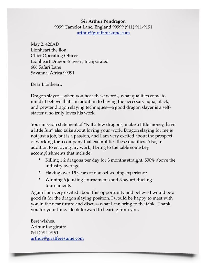A Good Cover Letter Example Writing a cover letter