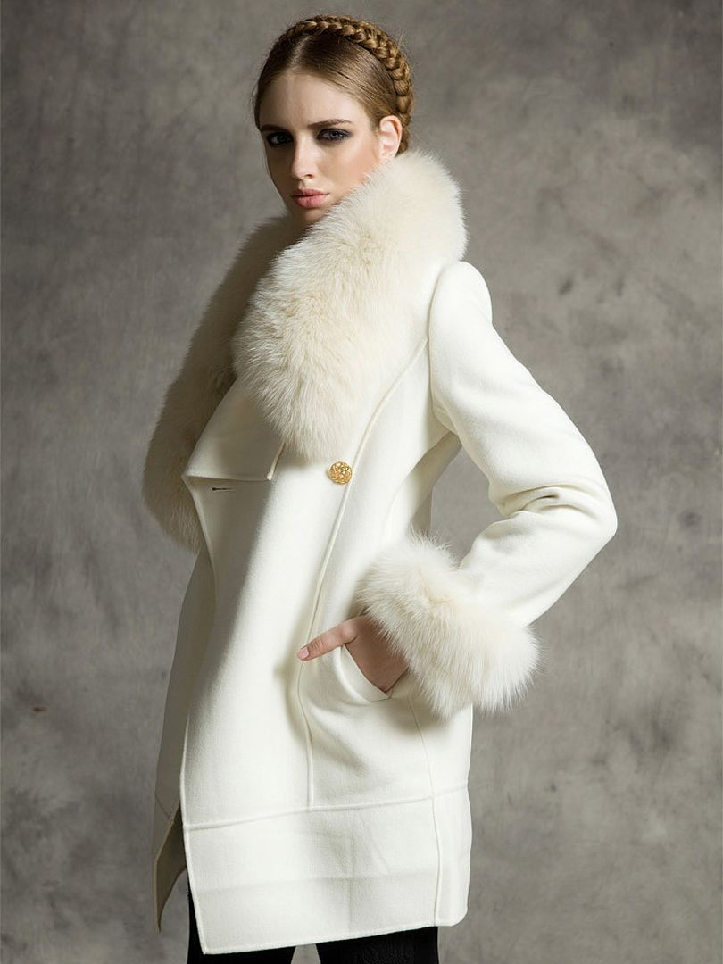 White Longline Wool Coat With Faux Fox Fur Collar And