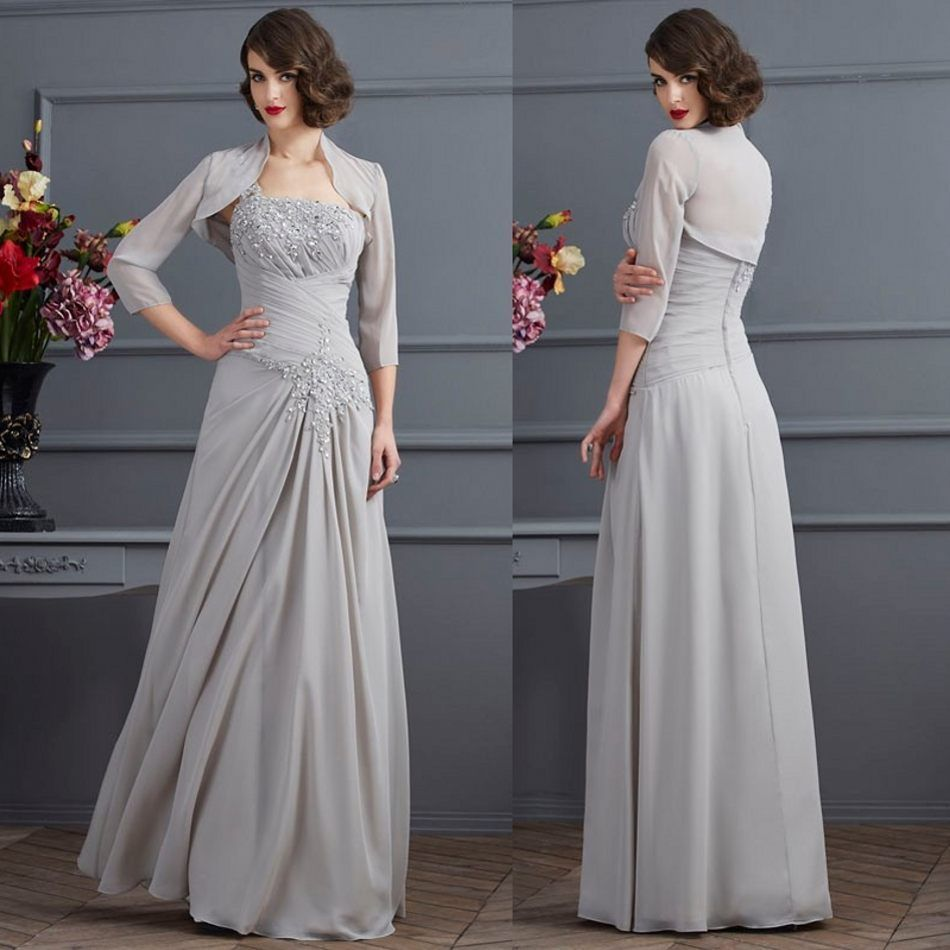 Gray crystal long mother of the bride dresses one shoulder long