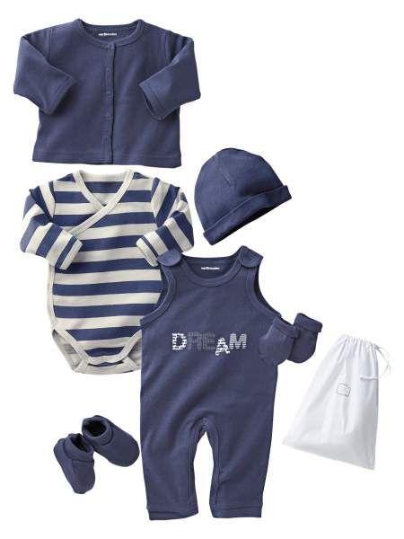 ecaf60670 Canastilla 6 prendas bebé recién nacido a 18 meses en azul marino y blanco