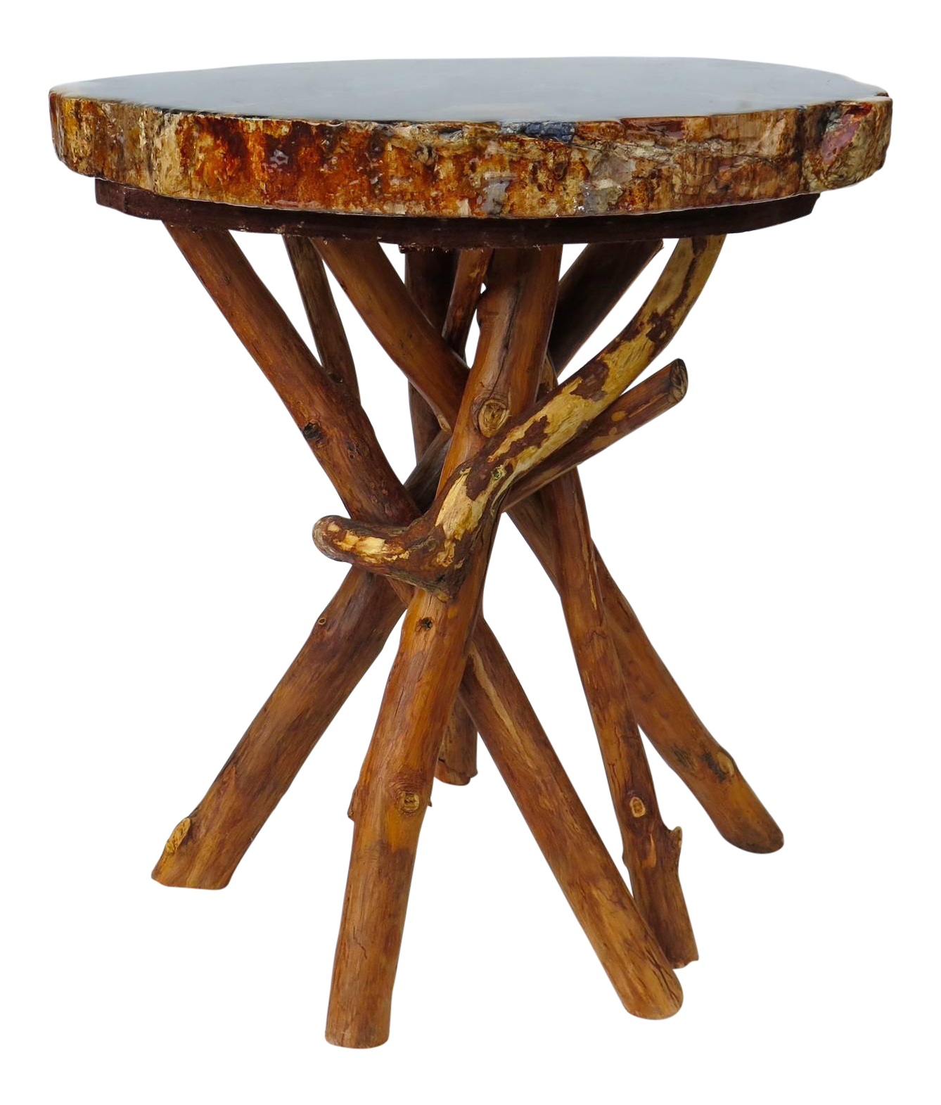 petrified wood side table with branch base on decaso com