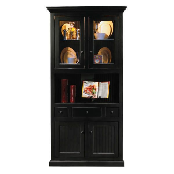 Classic Black Hard Wood Kitchen Dining Room Corner China Cabinet Delectable Corner Dining Room Hutch Decorating Inspiration