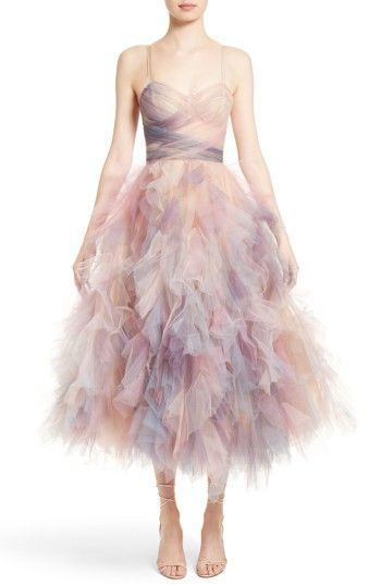 Free shipping and returns on Marchesa Watercolor Tulle Dress at Nordstrom.com. Frothy tulle washed in a myriad of soft colors is shaped for a confection of a dress worthy of a prima ballerina. Slender straps subtly suspend the corset bodice and the voluminous skirt ends in a playfully uneven hem.