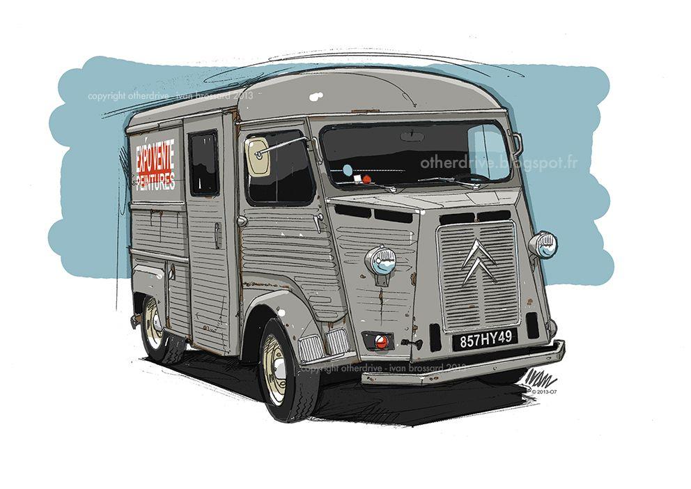 citroen type h car art illustration pinterest voitures vehicule et dessins de voitures. Black Bedroom Furniture Sets. Home Design Ideas