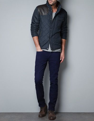 JACKET WITH FAUX LEATHER PATCH - Jackets - Man - ZARA | Looks ... : mens quilted jacket with shoulder patch - Adamdwight.com