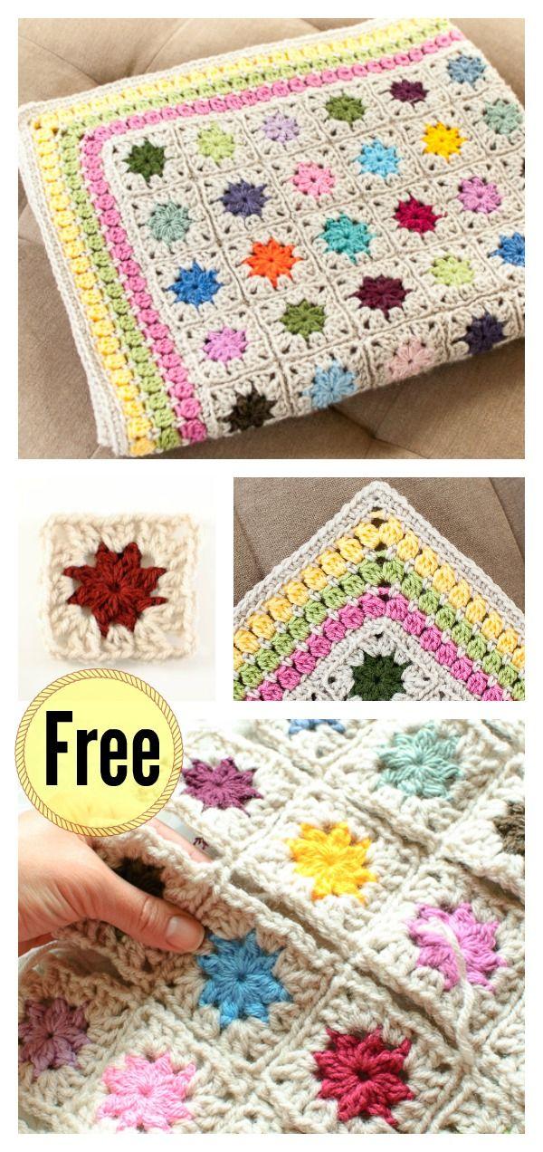 Cluster Burst Afghan Blanket Free Crochet Pattern | Häckeln, Decken ...