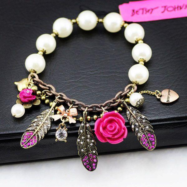 Charm bracelet crystal feather flower pendant white beads stretch crystal feather flower pendant white beads stretch bracelet girl love best aloadofball Gallery