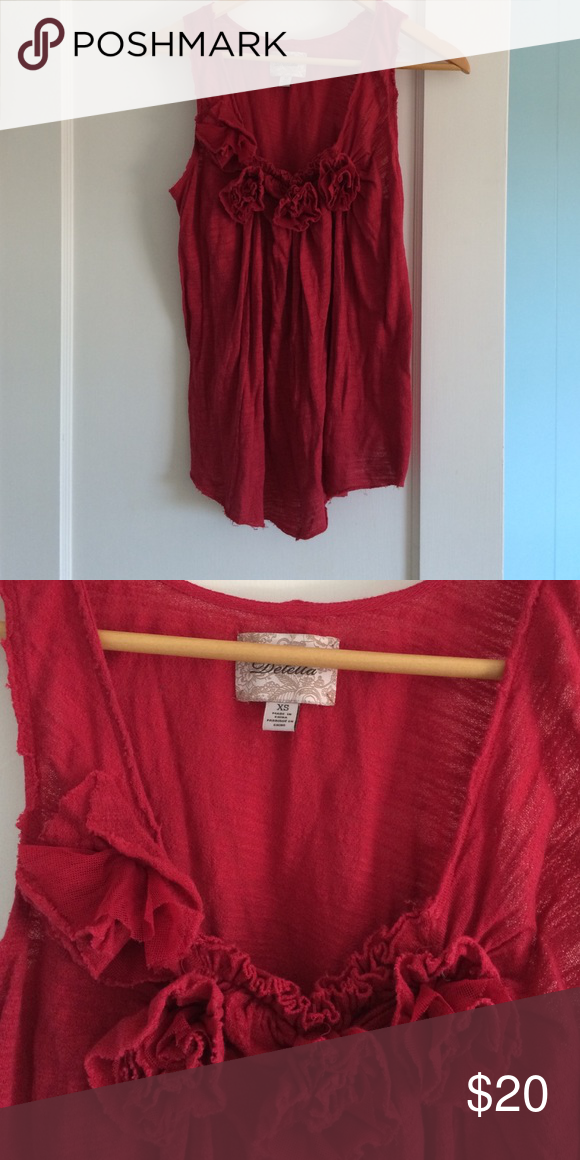 Deletta red roses tank, XS Flowy Deletta red tank w rose detail at collar. Could fit a S as well. Intentional fraying at arm holes and bottom hem. Anthropologie Tops Tank Tops