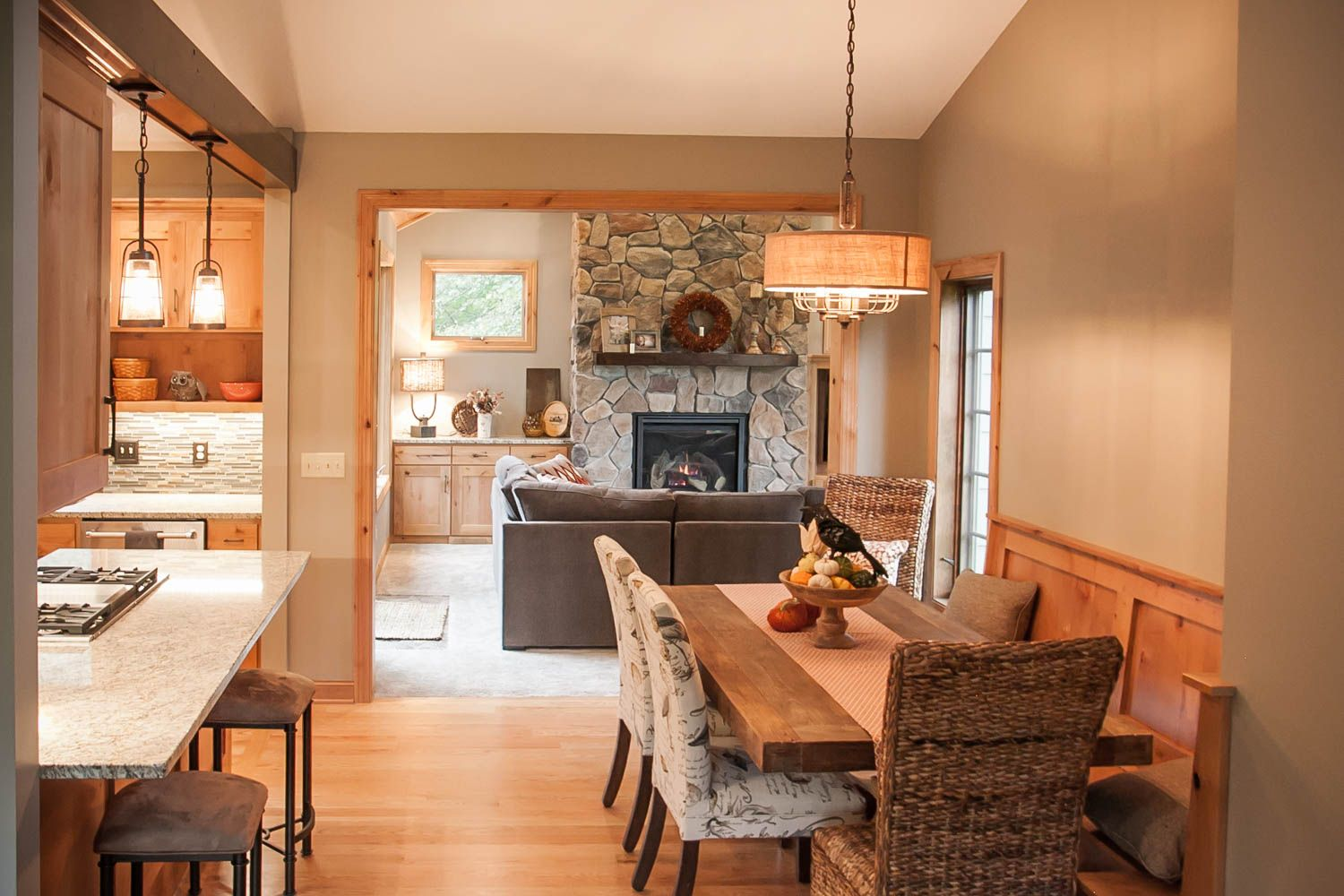 New Addition Family Room And Dining Space Remodel Renovation Rustic Alder Wood Custom Cabinetry Stone