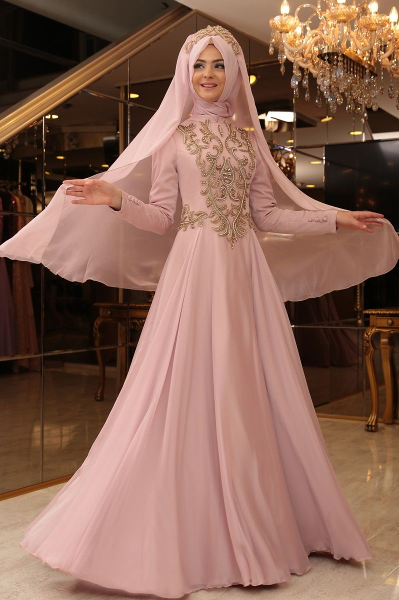 Pınar Şems - Lale Abiye Elbise Pudra