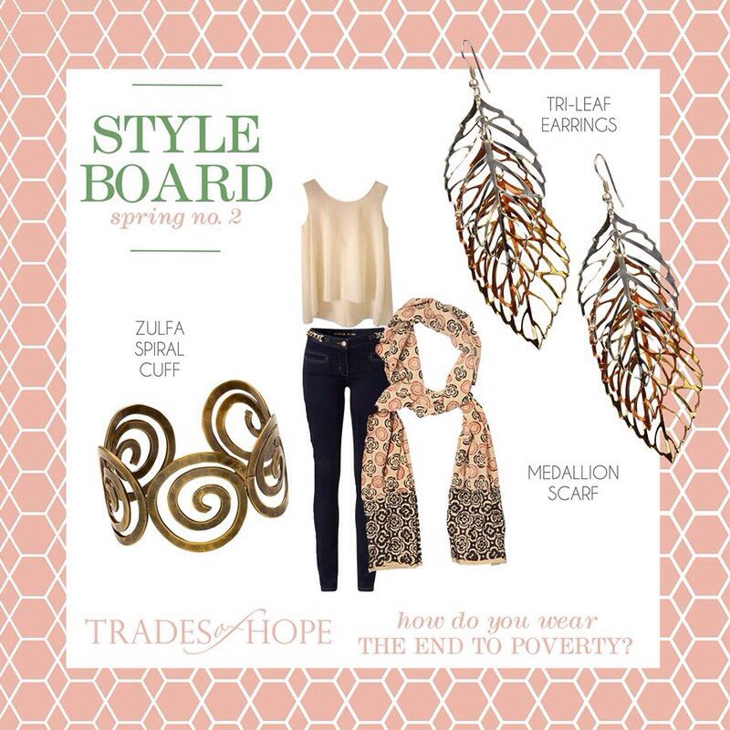 Late Summer Chic featuring Tri-Color Earrings, Zulfa Spiral Cuff, and Metallic Scarf. #Handcrafted, #Fair Trade #accessories empower women out of poverty. Purchase at https://www.mytradesofhope.com/valeriesheridan
