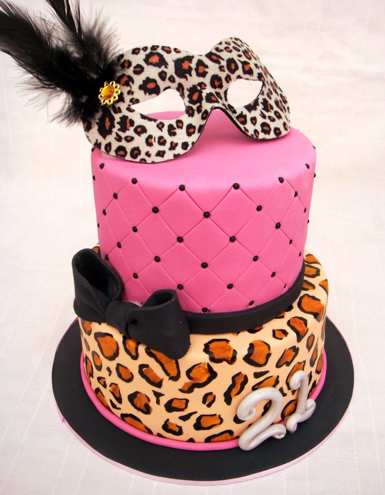 Fabulous Pink Black And Leopard Print Masquerade Cakes Leopard Print Cake Personalised Birthday Cards Petedlily Jamesorg