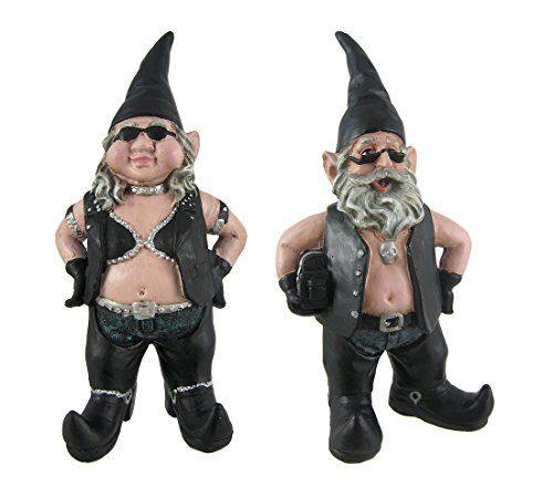 Gnoschitt And Gnofun Pair Of Biker Garden Gnomes Statue Motorcycle Leather  9 Inc * Want To Know More, Click On The Image.