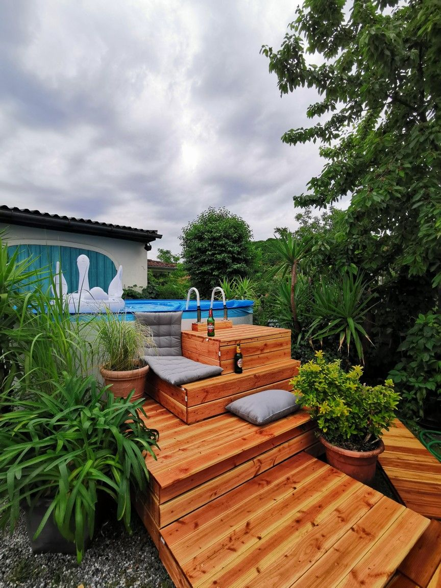 Diy Pool Podest With Stairs Pool Treppe Garten