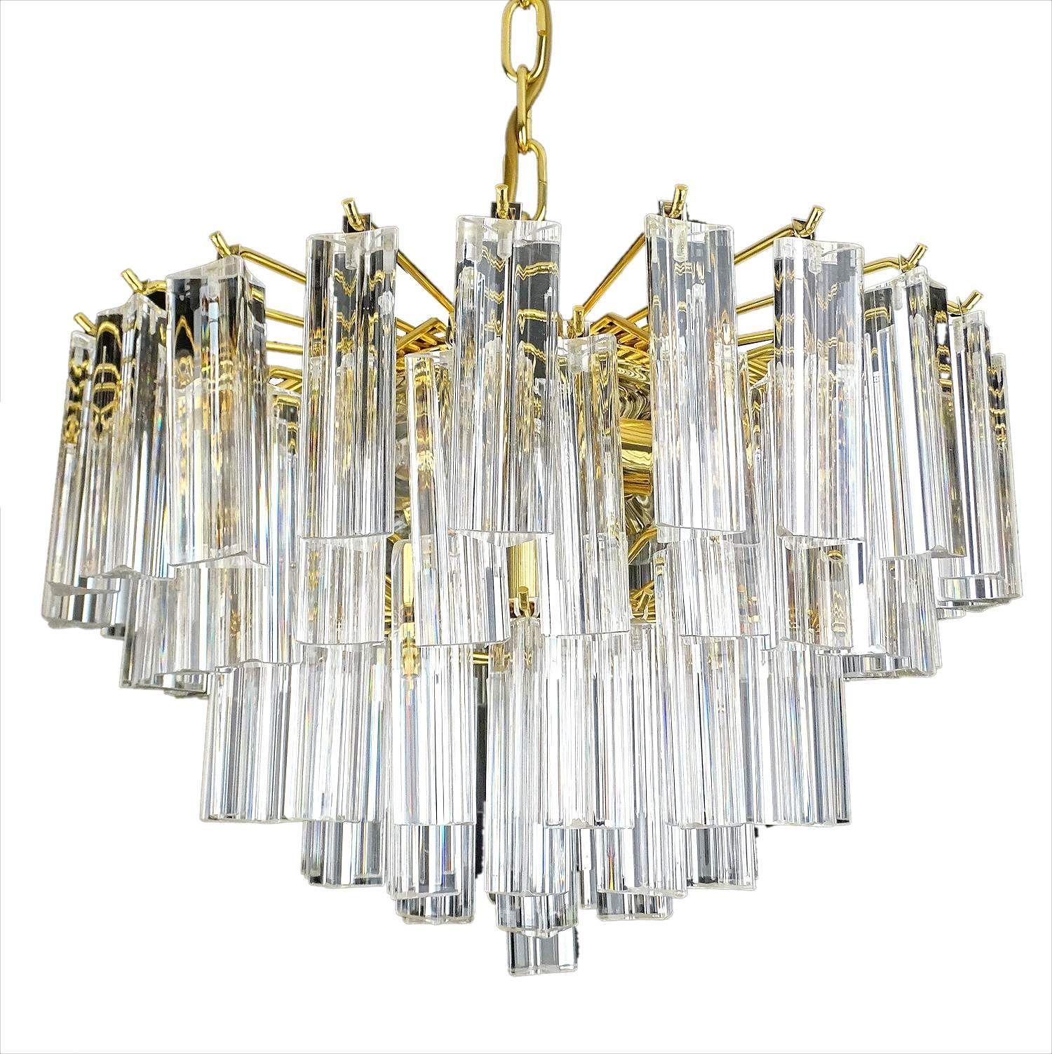 Venini Murano Glass & Brass Chandelier Vintage Pendant Lamp