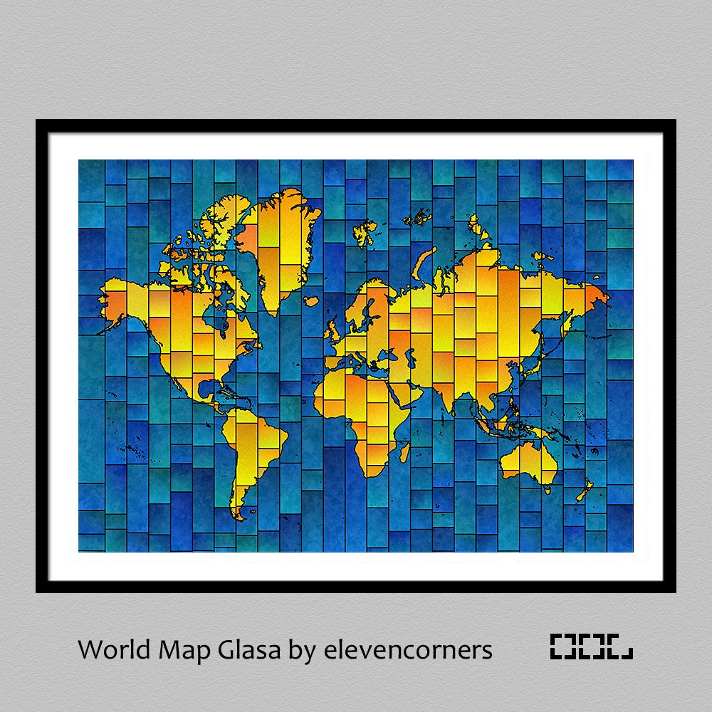 World map glasa a map of the world art print by elevencorners world map glasa a map of the world art print by elevencorners blue greenblueyellowbluepurplepurplepinkpurpleyellowgreenyellow by elevencorners gumiabroncs Images