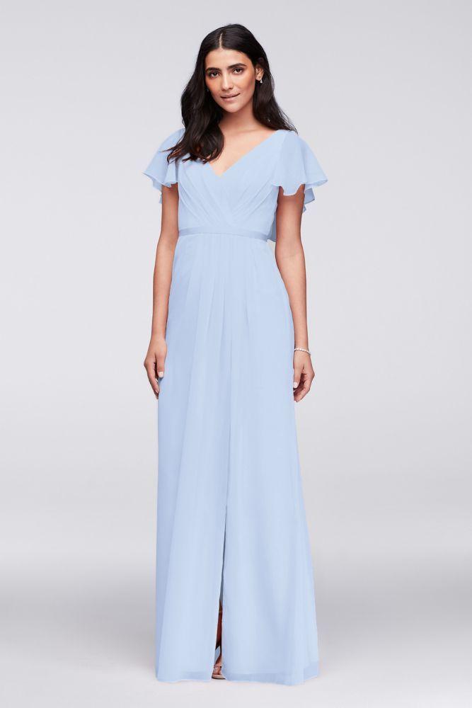 86c8bd94b688a Flutter Sleeve Crinkle Chiffon Bridesmaid Dress Style W11446, Ice Blue, 22