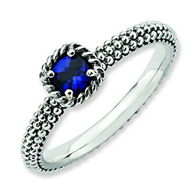 Zales Stackable Expressions Octagonal Lab-Created Blue Sapphire Three Stone Beaded Ring in Sterling Silver TRWbwNK8