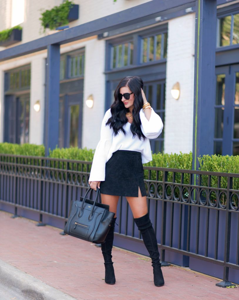 f3d149b7d1 Fall Trends: Bell Sleeve Sweater | Fashion Bloggers | Suede skirt ...