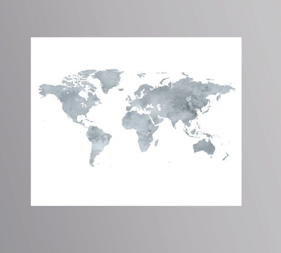 Printable grey world map watercolor wanderlust poster download map printable grey world map watercolor wanderlust poster download map artwork world map digital colorful world map gumiabroncs